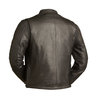 Diapo Leather Men's Black Rivet with Tab Collar Motorcycle Cowhide Vegetable Tanned Leather Jacket