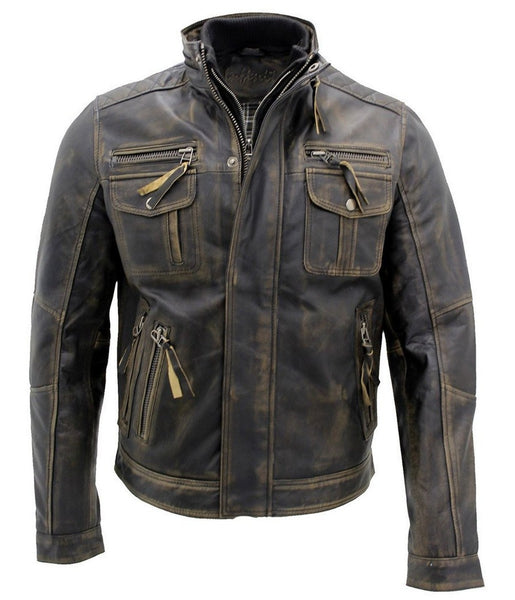 Diapo Leather Men's Black Distressed Rivet Center Zip Moto Cowhide Vegetable Tanned Leather Jacket