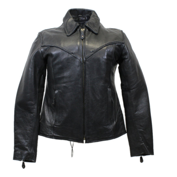 Diapo Leather Women's Black Braided Center Zip with Classic Collar Cowhide Vegetable Tanned Leather Jacket