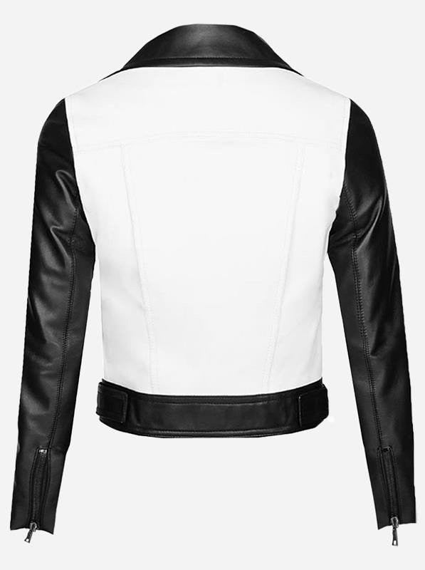 Diapo Leather Women's Black and White Rivet Moto Cowhide Vegetable Tanned Leather Jacket