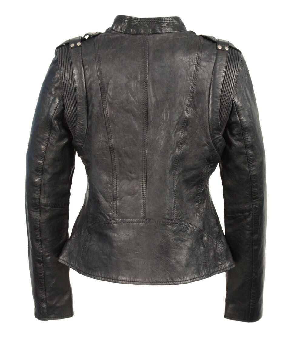 Diapo Leather Women's Black Performance Asymmetrical Motorbike Cowhide Vegetable Tanned Leather Jacket 40% OFF