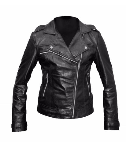 Diapo Leather Women's Black Classic Asymmetrical Moto Cowhide Vegetable Tanned Leather Jacket