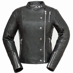 Diapo Leather Women's Black Asymmetrical Cycle with Tab Collar Cowhide Vegetable Tanned Leather Jacket