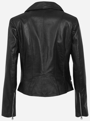 Diapo Leather Women's Black Vintage Asymmetrical Moto Cowhide Vegetable Tanned Leather Jacket