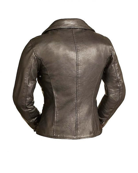 Diapo Leather Women's Brown Asymmetrical  Moto Cowhide Vegetable Tanned Leather Jacket