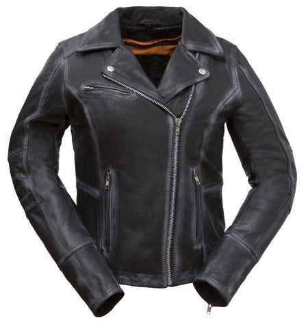 Diapo Leather Women's Black Performance Asymmetrical Moto Cowhide Vegetable Tanned Leather Jacket