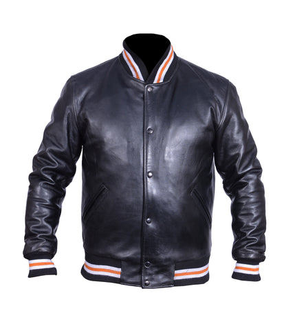 Diapo Leather Black Men's Cowhide Varsity Vegetable Tanned Leather Jacket     40% OFF