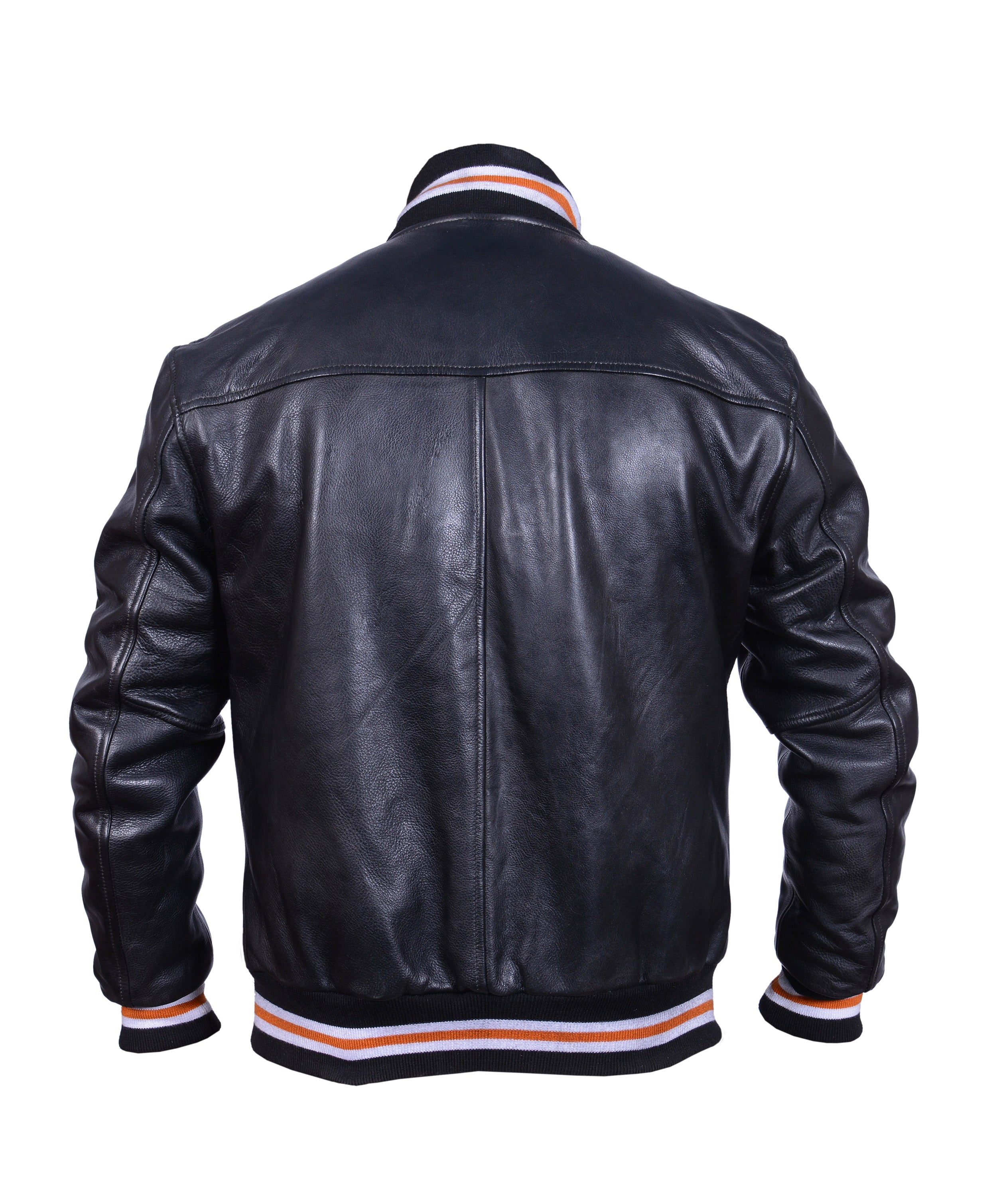 Diapo Leather Black Men's Cowhide Varsity Vegetable Tanned Leather Jacket