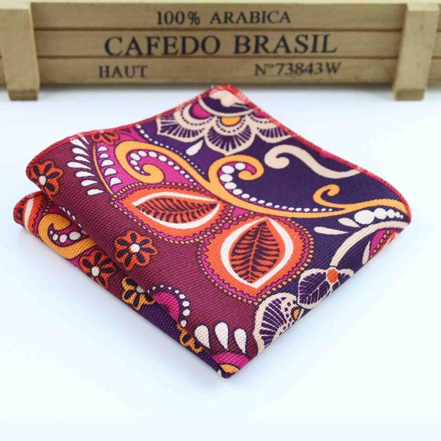 Burgundy Flower Paisley Men's Pocket Square - Necessary Touches