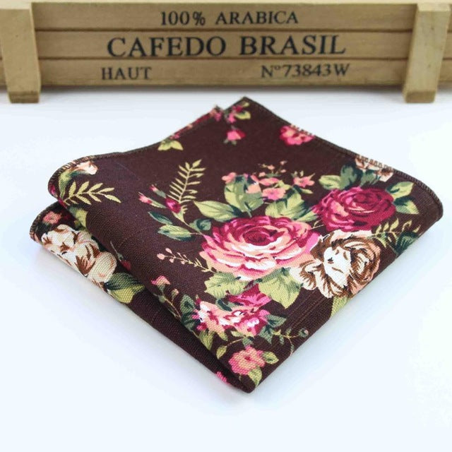 Chocolate Flower Paisley Men's Pocket Square - Necessary Touches