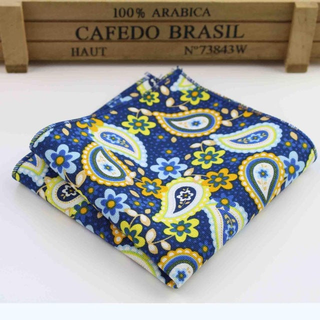 Navy Flower Paisley Men's Pocket Square - Necessary Touches