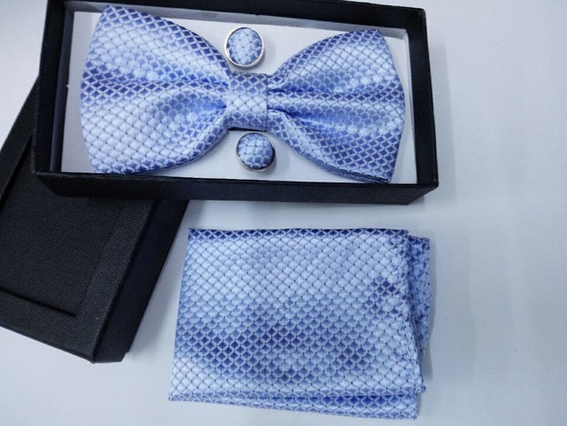 White Jacquard Bow Tie Set with Pocket Square and Cufflinks in a Gift box - Necessary Touches