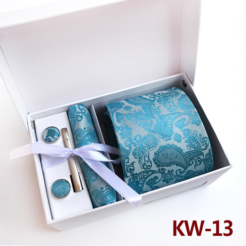 Baby Blue Paisley Man Tie, Pocket Square, Tie Clip and Cufflinks Gift Box - Necessary Touches