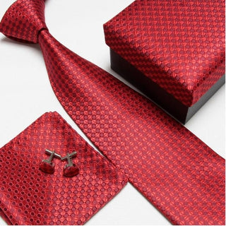 Burgundy #2 Neck Tie Set for Man (Necktie, Cufflinks & Handkerchief) in  Gift Box - Necessary Touches