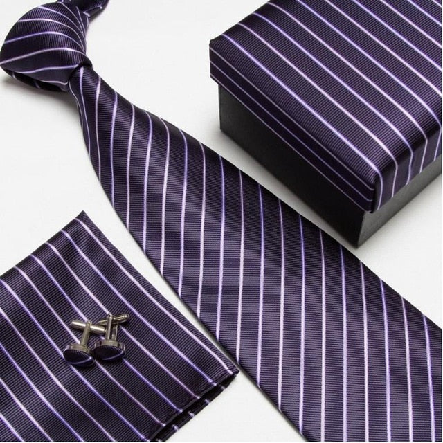 Purple Strip #5 NeckTie Set for Man (Necktie, Cufflinks & Handkerchief) in  Gift Box - Necessary Touches