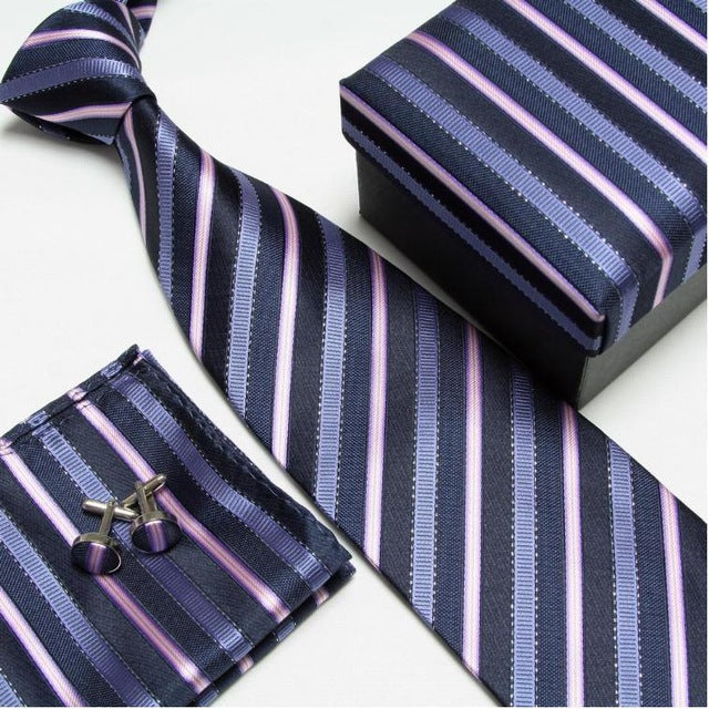 Blue Strip #6 Neck Tie Set for Man (Necktie, Cufflinks & Handkerchief) in  Gift Box - Necessary Touches