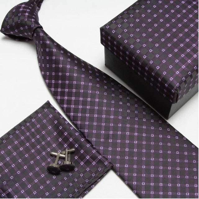 Purple Pattern #8 NeckTie Set for Man (Necktie, Cufflinks & Handkerchief) in  Gift Box - Necessary Touches