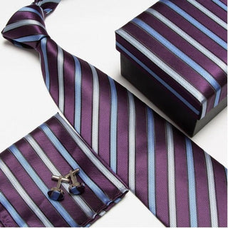 Purple & Blue Strip #9 NeckTie Set for Man (Necktie, Cufflinks & Handkerchief) in  Gift Box - Necessary Touches