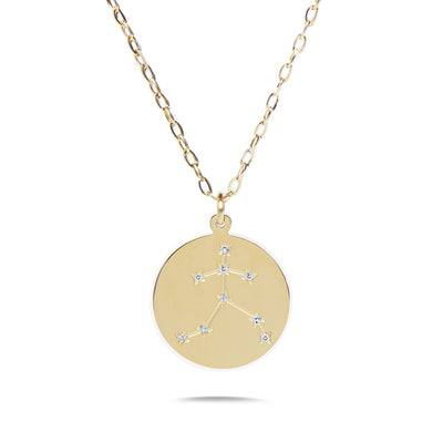 AQUARIUS - 14k Shiny Gold Plated with CZ Stones Zodiac Sign Necklace