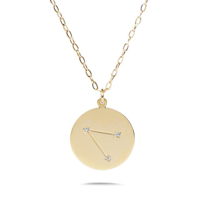 AIRES - 14k Shiny Gold Plated with CZ Stones Zodiac Sign Necklace