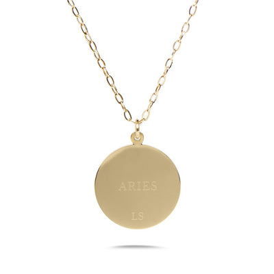 ARIES - 14k Shiny Gold Plated with CZ Stones Zodiac Sign Necklace