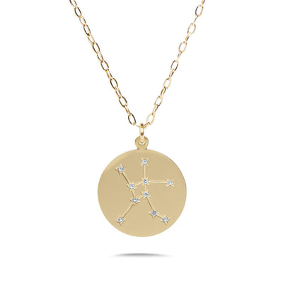 CANCER - 14k Shiny Gold Plated with CZ Stones Zodiac Sign Necklace