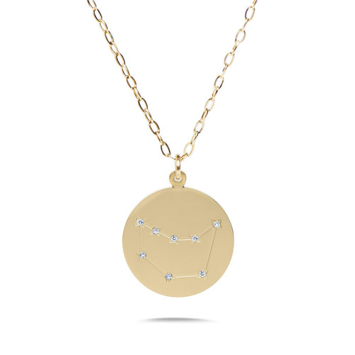 CAPRICORN - 14k Shiny Gold Plated with CZ Stones Zodiac Sign Necklace