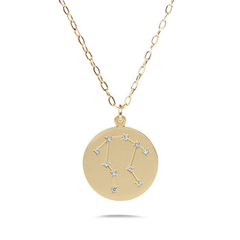 GEMINI - 14k Shiny Gold Plated with CZ Stones Zodiac Sign Necklace