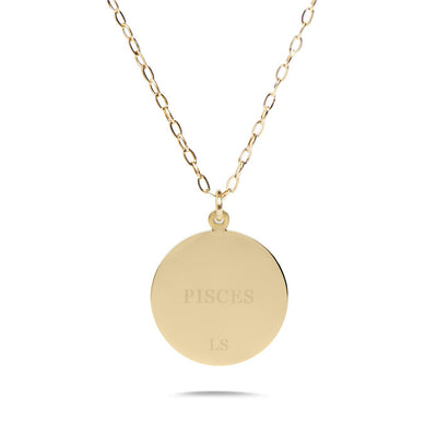 PISCES - 14k Shiny Gold Plated with CZ Stones Zodiac Sign Necklace