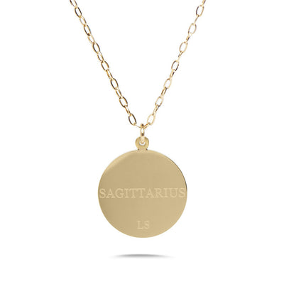 SAGITTARIUS - 14k Shiny Gold Plated with CZ Stones Zodiac Sign Necklace