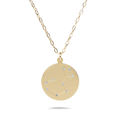 SCORPIO - 14k Shiny Gold Plated with CZ Stones Zodiac Sign Necklace