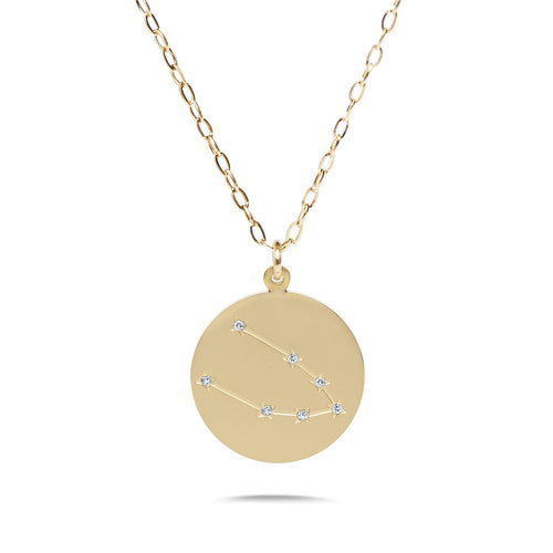 TAURUS - 14k Shiny Gold Plated with CZ Stones Zodiac Sign Necklace