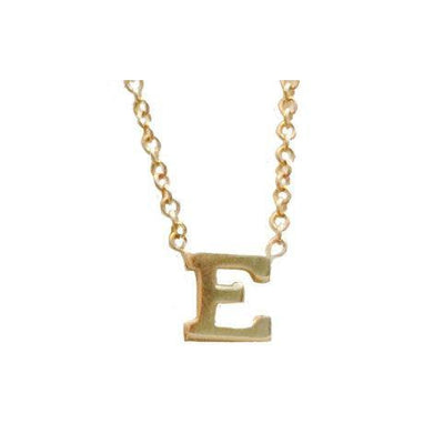14K Gold Small Initial Letter Necklace