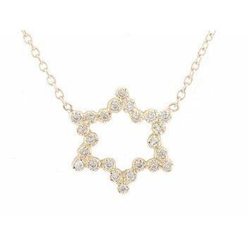 Gold and Diamond Star of David Necklace
