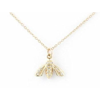 Pave Diamond and Gold Bee Necklace