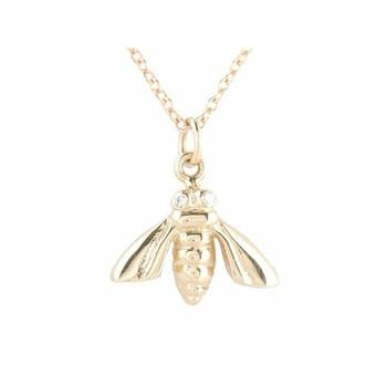 Gold Bee Necklace with Pave Diamond Eyes