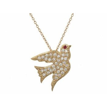 Pave Diamond Dove Necklace