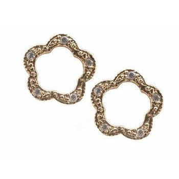 Open Flower Pave Diamond Stud Earrings
