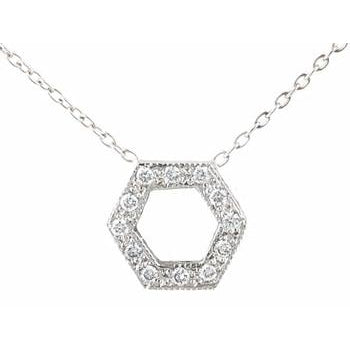 Open Pave Diamond Hexagon Necklace