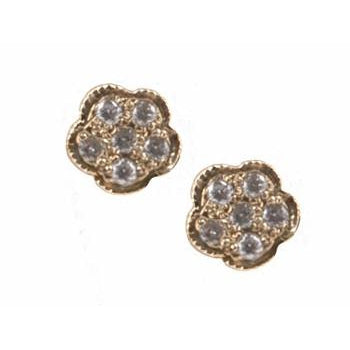 Closed Flower Pave Diamond Stud Earrings