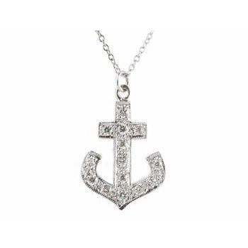 Large Pave Diamond Anchor Necklace