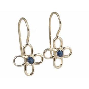Wire Flower With Sapphire Earrings
