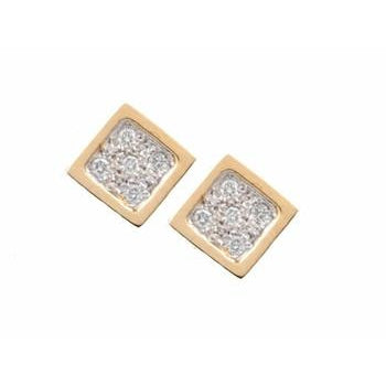 Squares with Gold Ridge and Pave Diamond Center Earrings