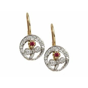 Yellow and White Flowers with Diamond and Ruby Center Earrings