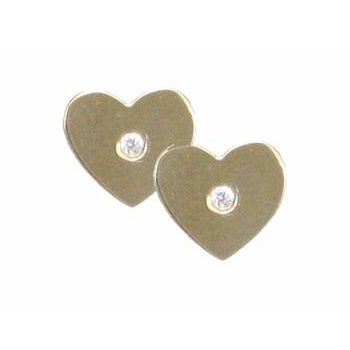 Heart with Diamond Center Earrings