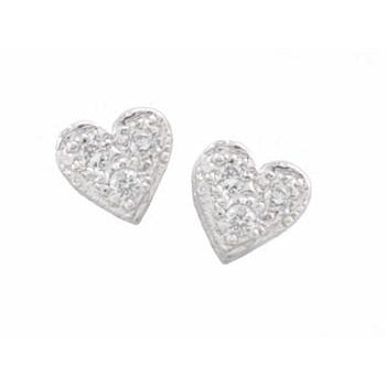 Baby Pave Diamond Heart Stud Earrings