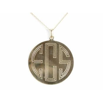 Art Deco Monogram Disc Pendant