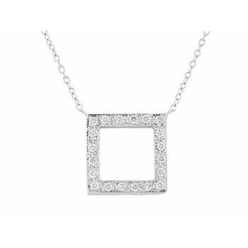 Square Pave Diamond Necklace