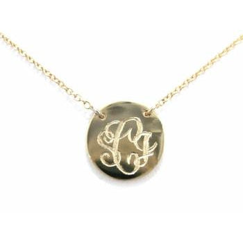 Small Monogram Script Disc Necklace
