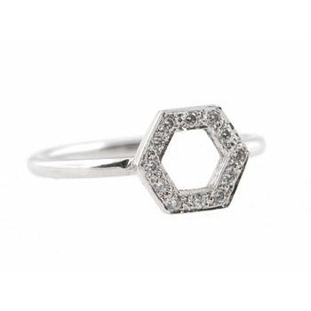 Open Hexagon Pave Diamond Ring